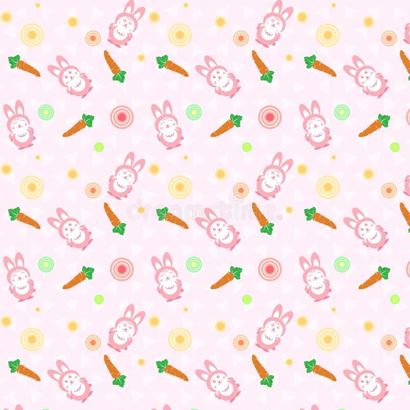 Lapin de rose mignon avec le concept de modèle de dispersion de carotte employant pour k illustration stock