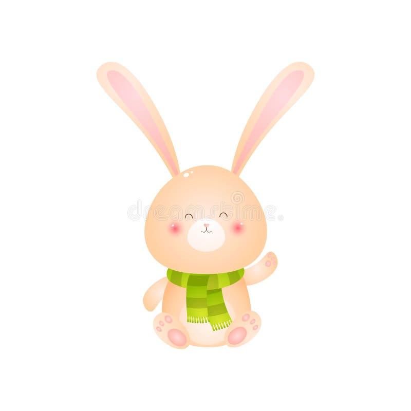 Lapin de sourire mignon se reposant dans l'écharpe verte sur son cou sur le fond blanc illustration de vecteur