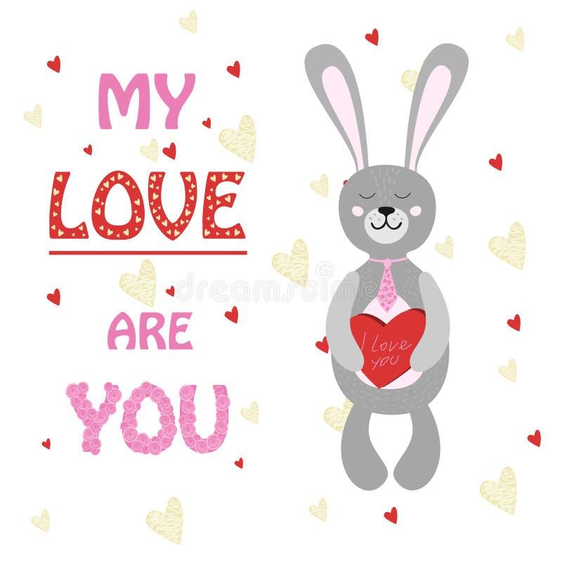 Lapin de Valentine, lapin avec la boîte de coeur de chocolats illustration stock
