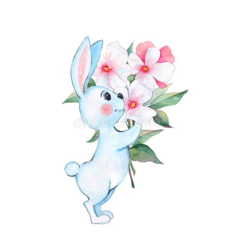 Lapin et fleurs Illustration 2 d'aquarelle illustration stock