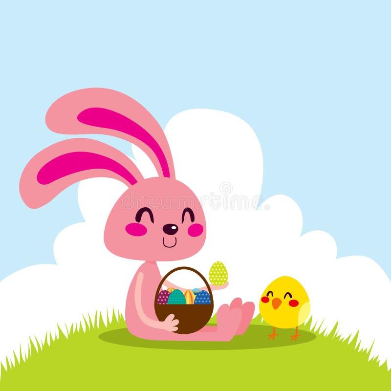 Lapin et nana de Pâques illustration de vecteur