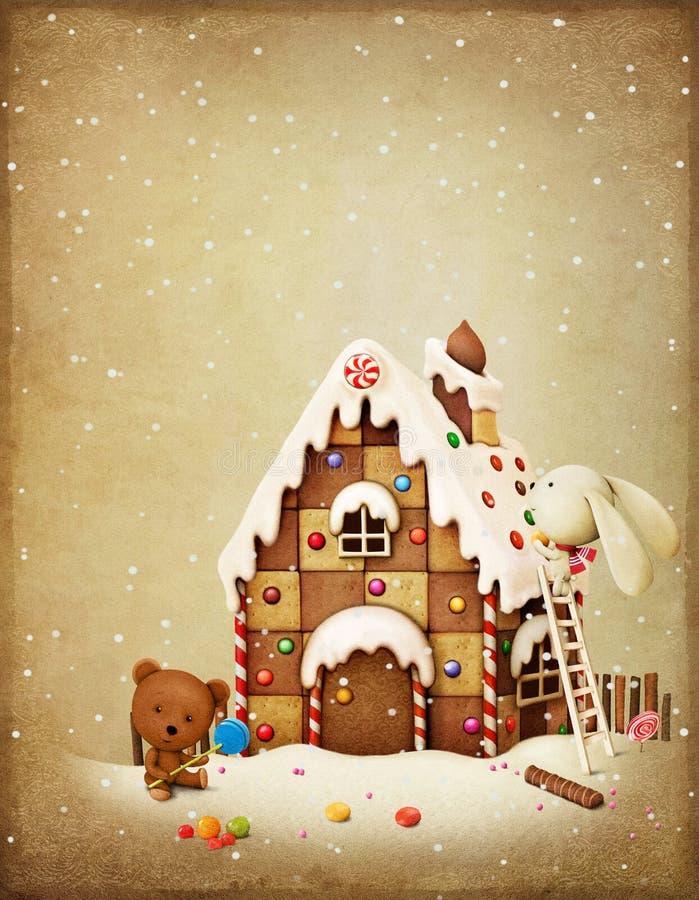 Lapin et ours d'aventure de Noël illustration stock