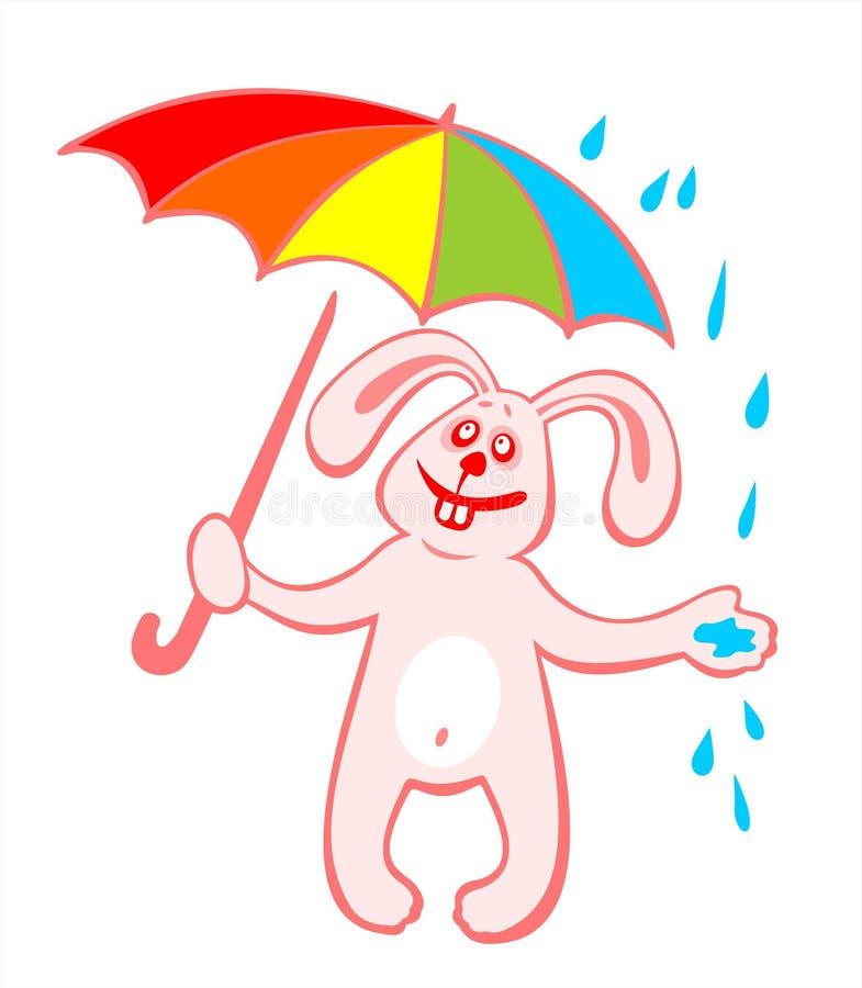 Lapin Et Parapluie Gais Photo libre de droits