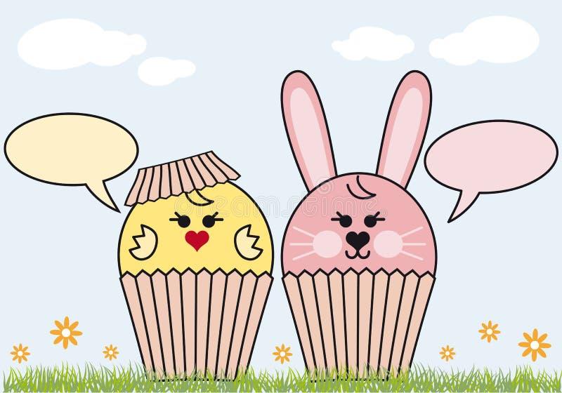 Lapin et poulet de Pâques de gâteau illustration de vecteur