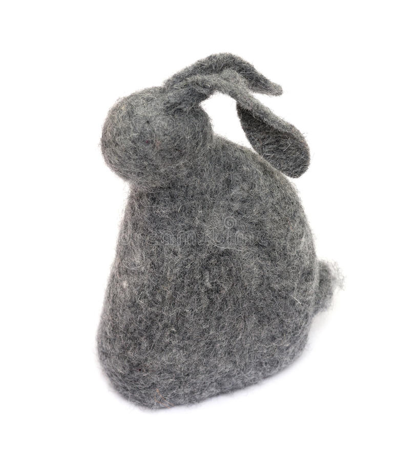 Lapin fait main de laine de jouet photo stock