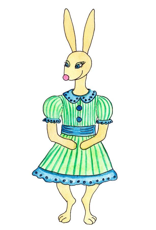 Lapin-fille mignonne de mode dans la robe rayée d'été avec des boutons et des douilles soufflées courtes illustration stock