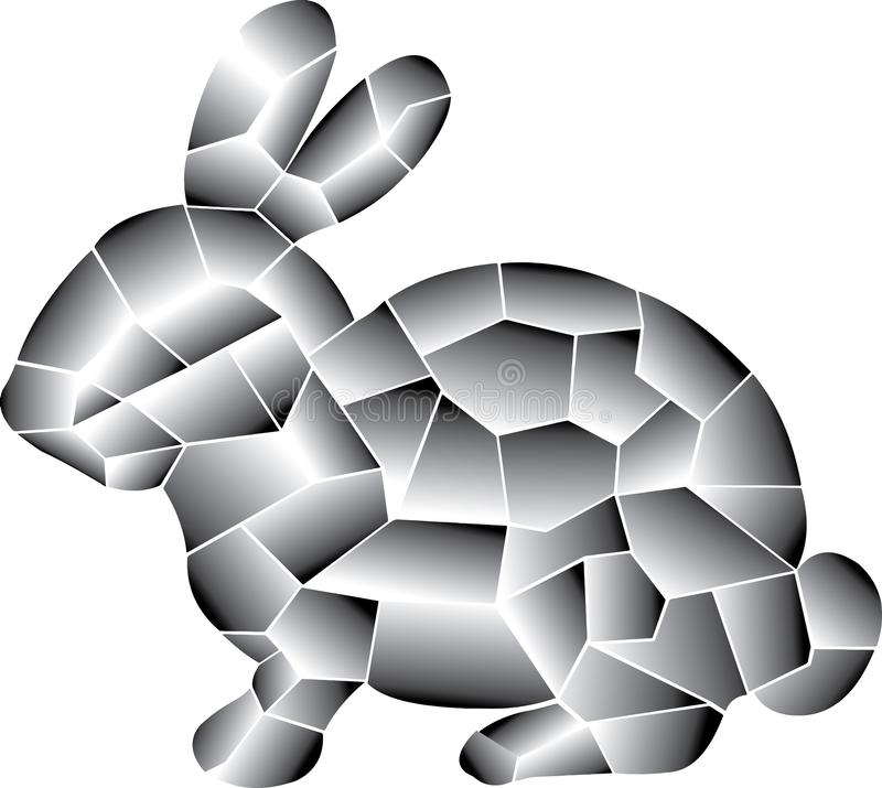 Lapin gris Coloré linéaire d'éléments illustration libre de droits