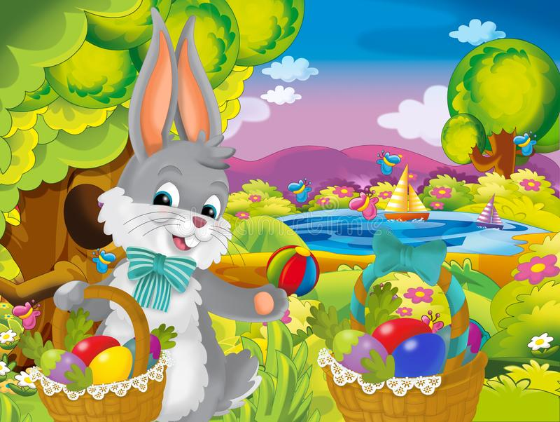 Lapin heureux de Pâques de bande dessinée avec de beaux oeufs de pâques dans le panier sur le fond de ressort de nature illustration libre de droits