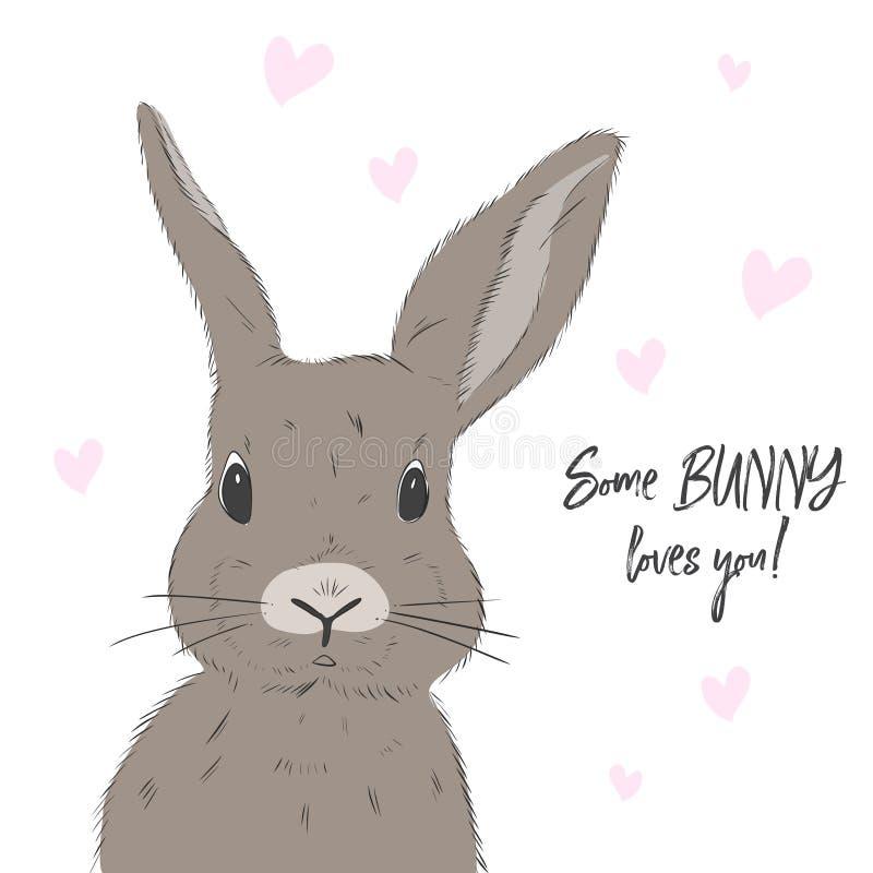 Lapin mignon avec amour vous texte Illustration de vecteur de lapin Copie de ressort de personnage de dessin animé Copie puérile  illustration libre de droits