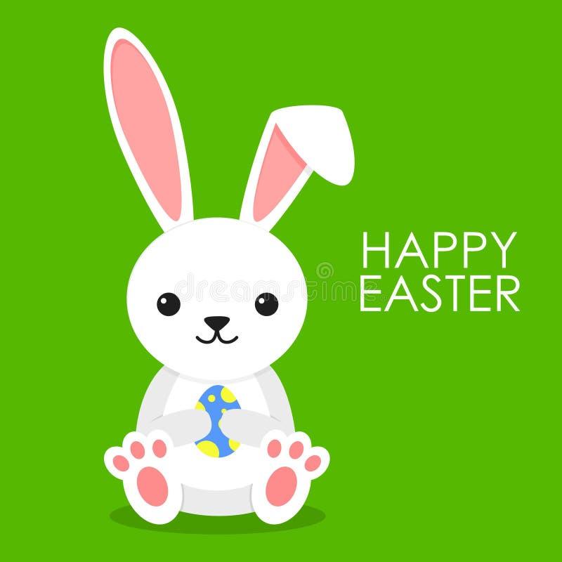 Lapin mignon avec l'oeuf de pâques bleu sur le fond vert Peu de lapin dépouillent dedans le style Carte de voeux heureuse de Pâqu illustration stock