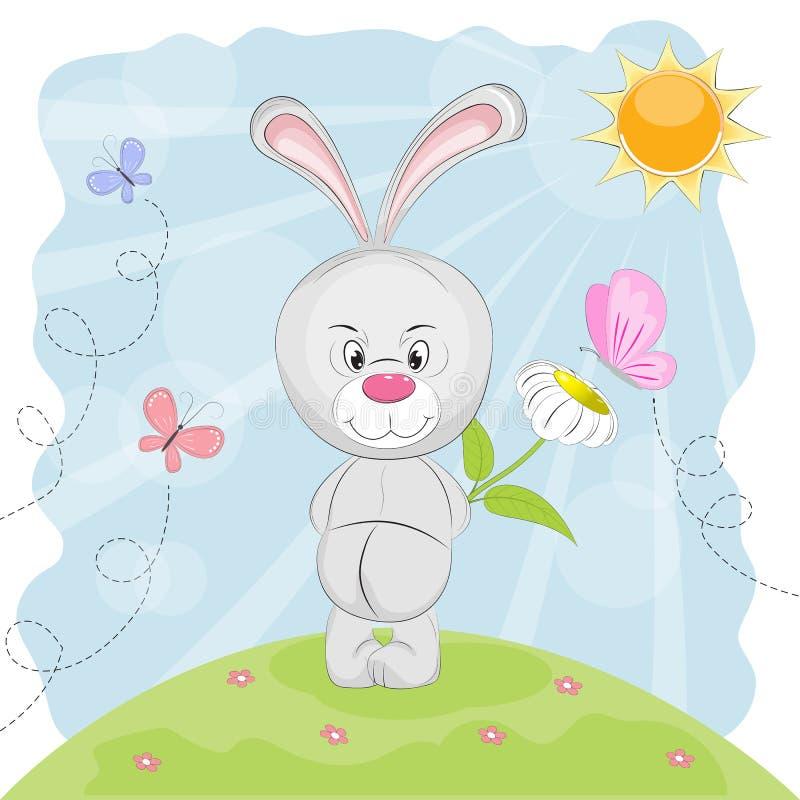 Lapin mignon avec la fleur et les papillons sur un pré illustration stock