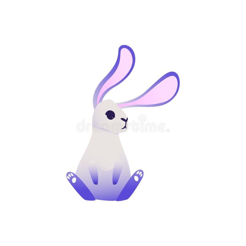 Lapin mignon avec les oreilles ultra-violettes et les jambes reposant et regardant quelque chose illustration de vecteur