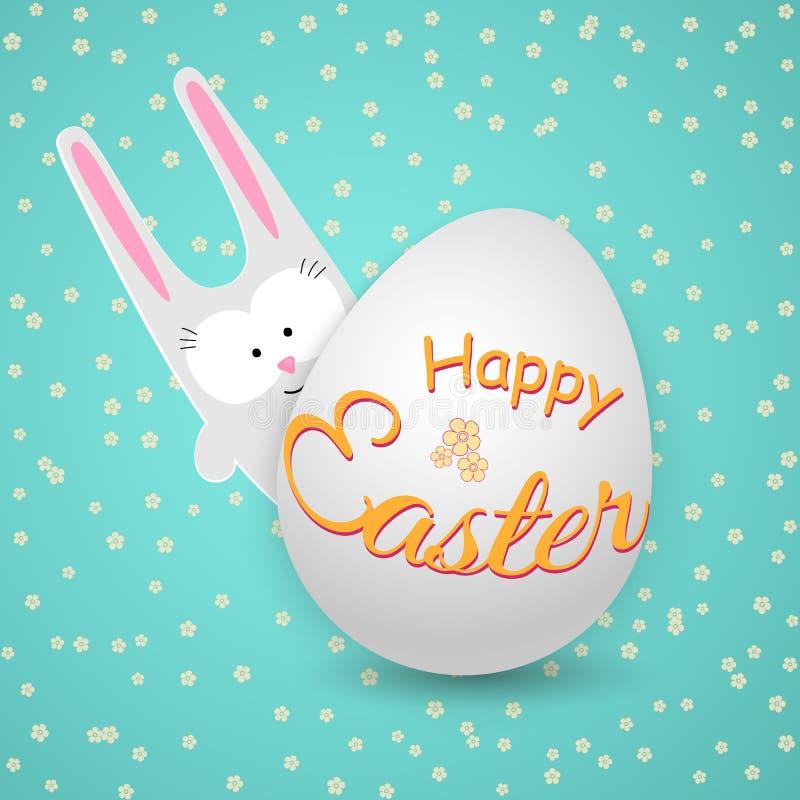 Lapin mignon de lapin avec l'oeuf sur un fond bleu avec le texte heureux de Pâques de fleurs un dessin créatif d'un caractère de  illustration stock