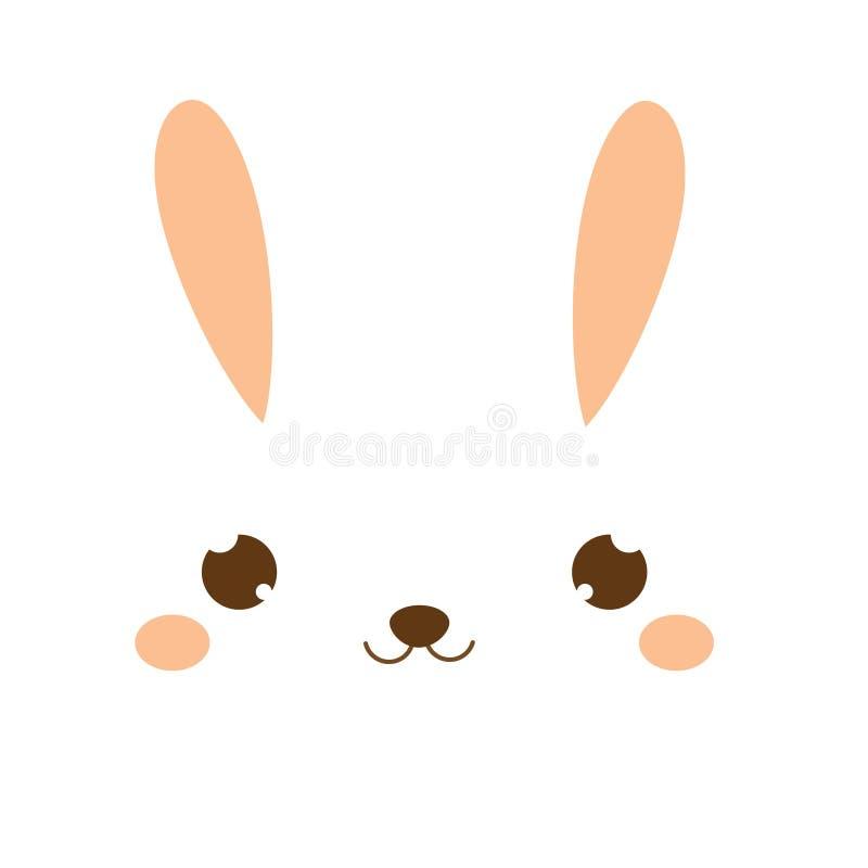 Lapin mignon Lapin de Kawaii Petits lièvres doux Visage animal de bande dessinée pour la mode d'enfants, d'enfants en bas âge et  illustration de vecteur