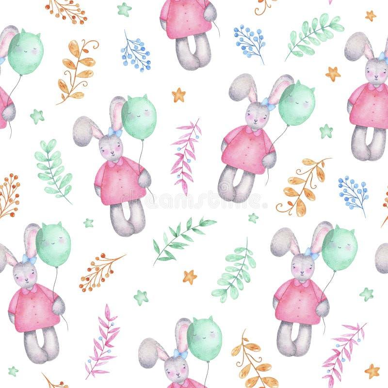 Lapin mignon heureux de fille de Pâques de modèle sans couture d'aquarelle avec des fleurs de ballons à air illustration libre de droits