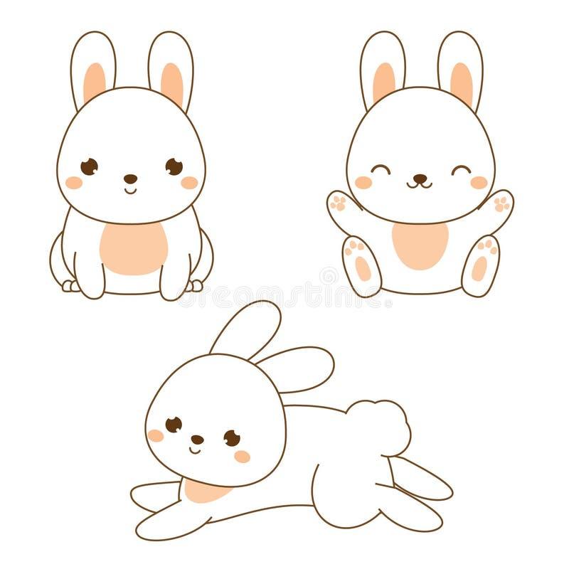 Lapin mignon Lapin de Kawaii Séance et sauter blancs de lièvres Caractère animal de bande dessinée pour la mode d'enfants, d'enfa illustration stock