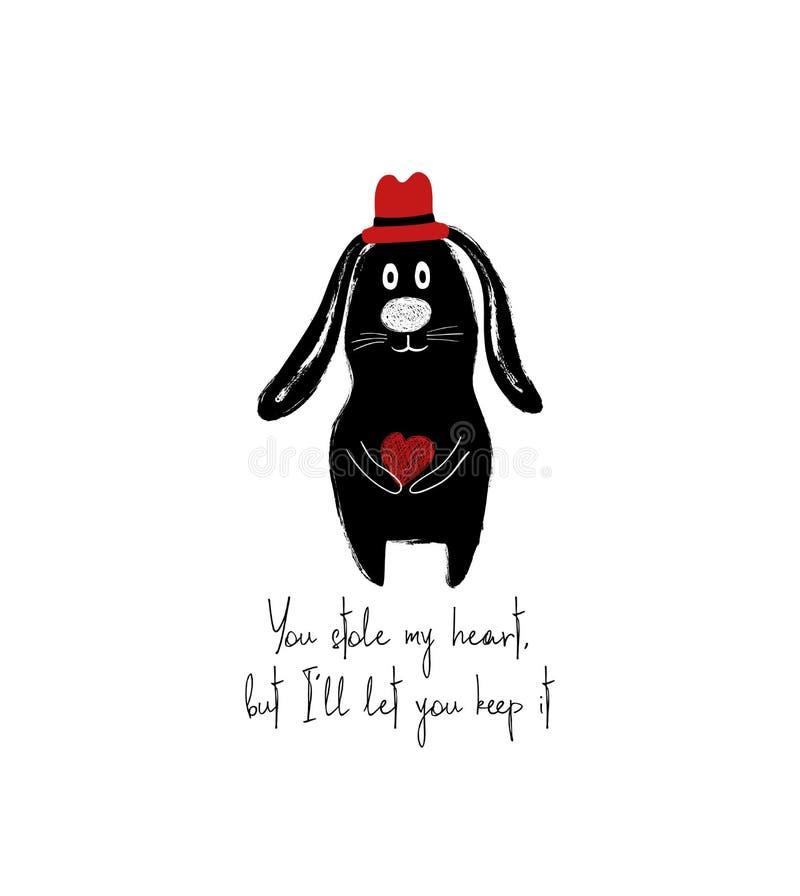 Lapin mignon tenant le petit coeur illustration stock