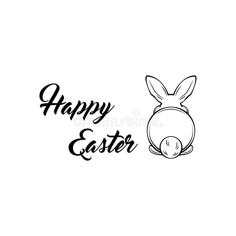 Lapin oriental Postérieur d'un lapin Carte de voeux Joyeuses Pâques Illustration de vecteur illustration libre de droits
