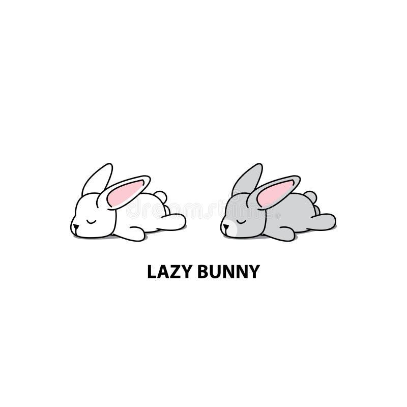 Lapin paresseux, icône grise mignonne de sommeil de lapin, conception de logo, illustration de vecteur illustration libre de droits