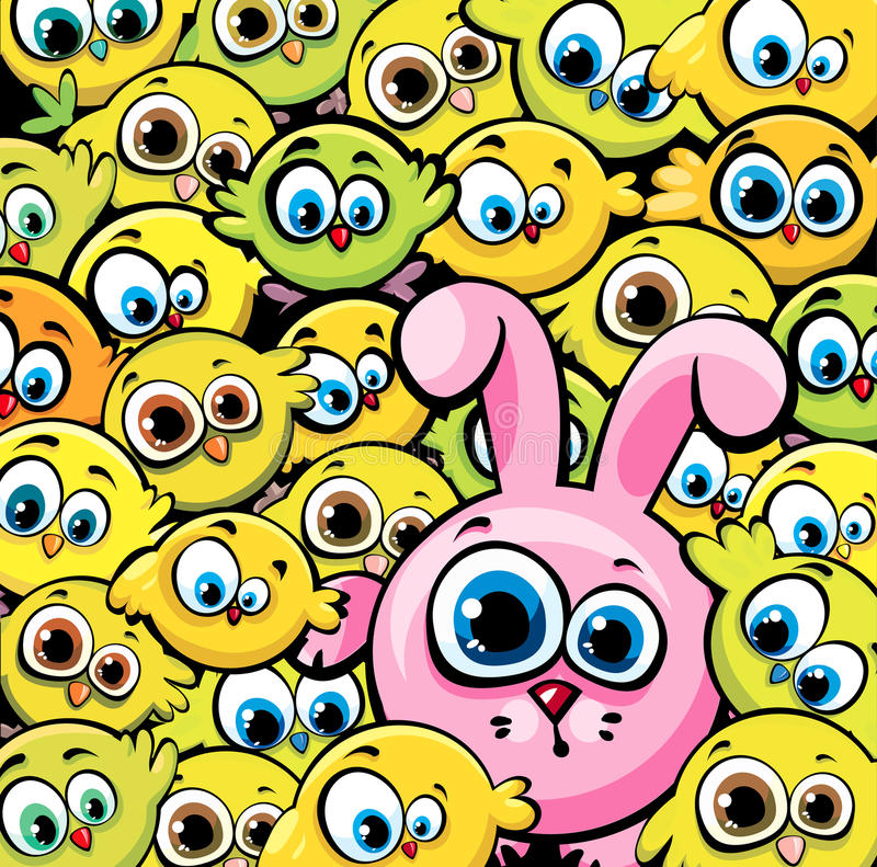 Lapin rose et poulets jaunes illustration de vecteur