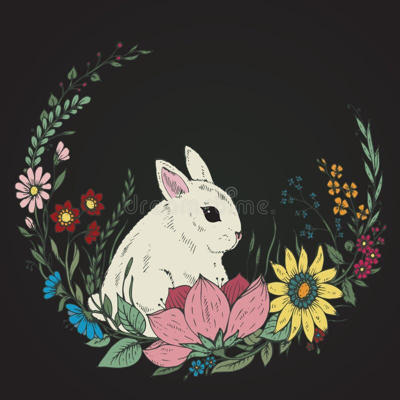 Lapin tiré par la main mignon avec la guirlande des fleurs et des feuilles illustration stock