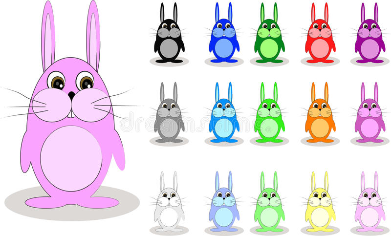 Lapins colorés illustration stock