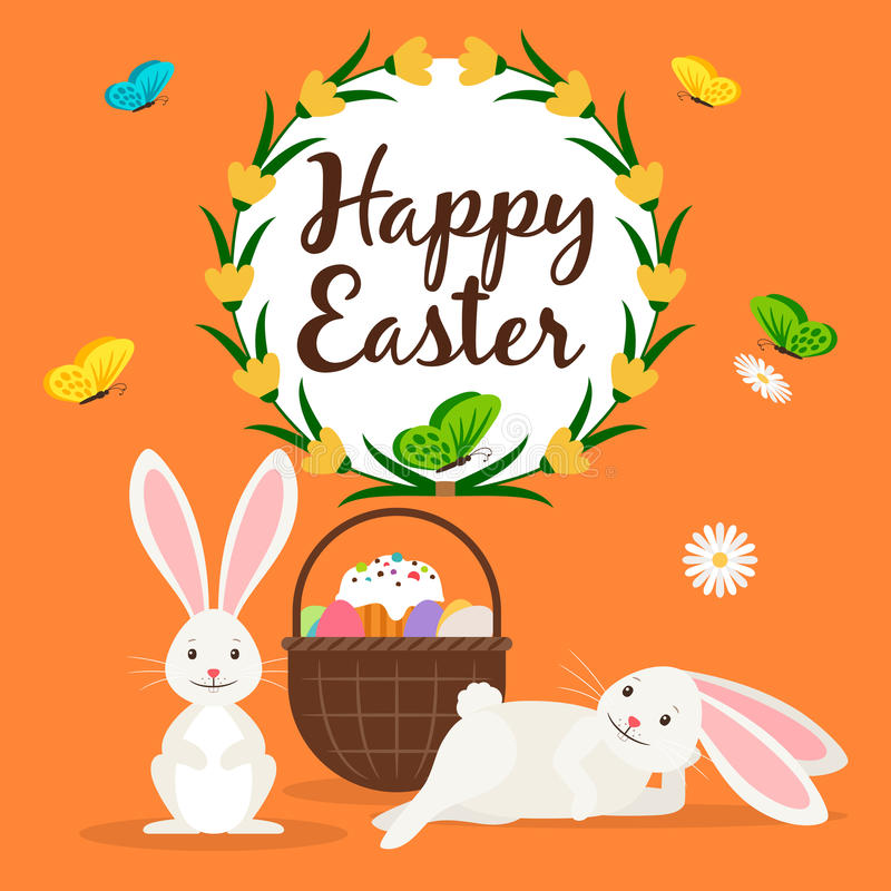 Lapins de Pâques et carte heureux de panier illustration stock