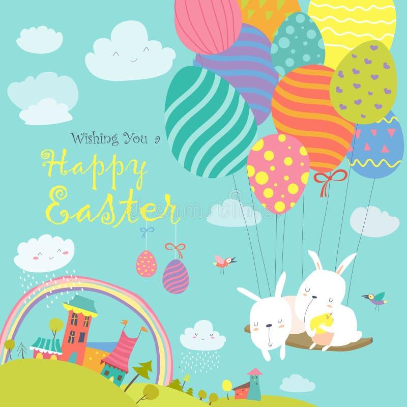 Lapins de Pâques et oeuf de pâques illustration de vecteur