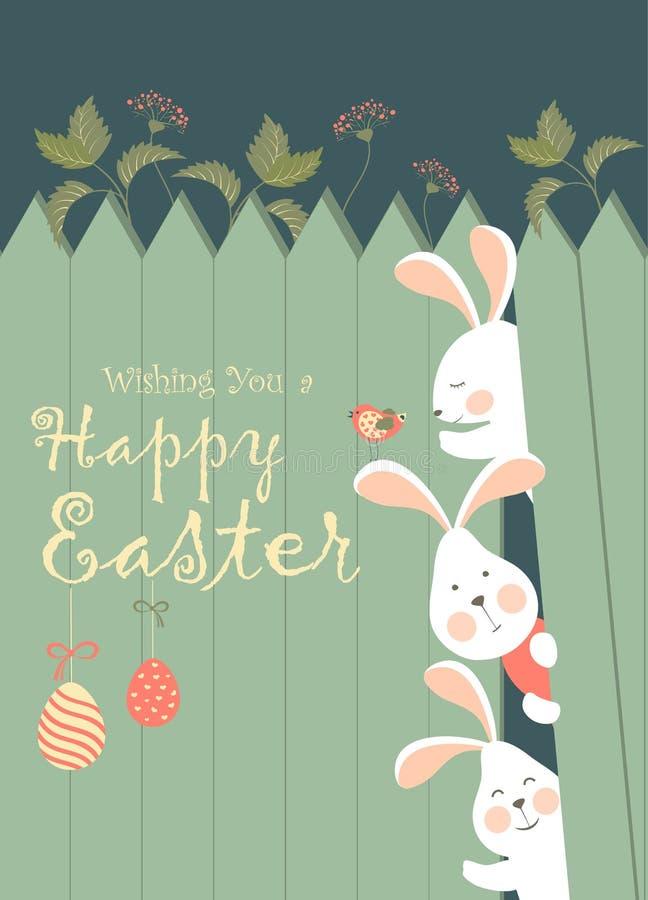Lapins de Pâques et oeufs de pâques illustration stock