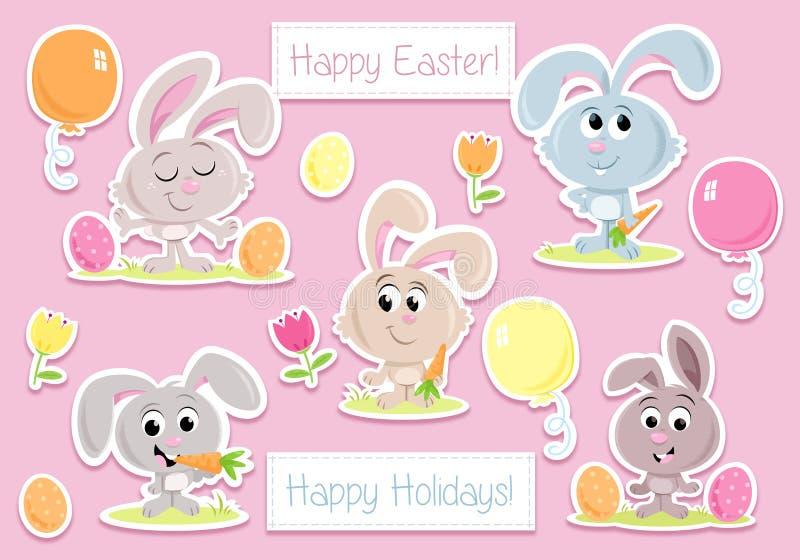 Lapins de Pâques heureux - éléments de partie de Pâques - pour des cartes de voeux et des invitations de partie illustration libre de droits