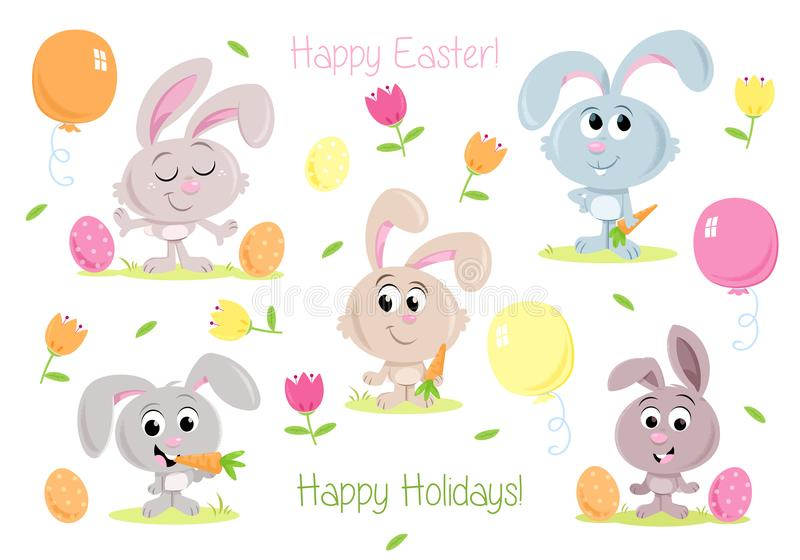 Lapins de Pâques heureux - éléments de partie de Pâques - pour des cartes de voeux et des invitations de partie illustration de vecteur