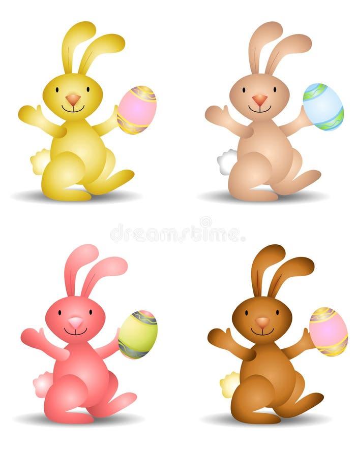 Lapins de Pâques retenant des oeufs de pâques illustration libre de droits