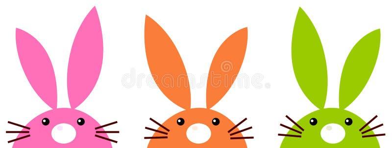 Les lapins de Pâques simples mignons ont placé d'isolement sur le blanc illustration libre de droits