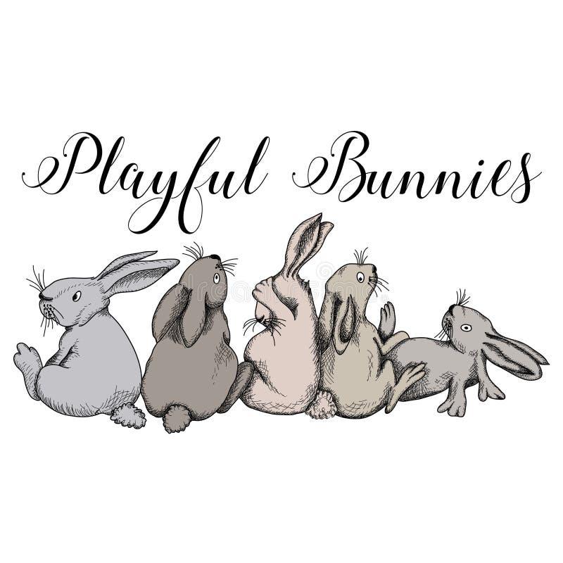 Lapins espiègles, lapins, amusement mignon de lapin illustration libre de droits