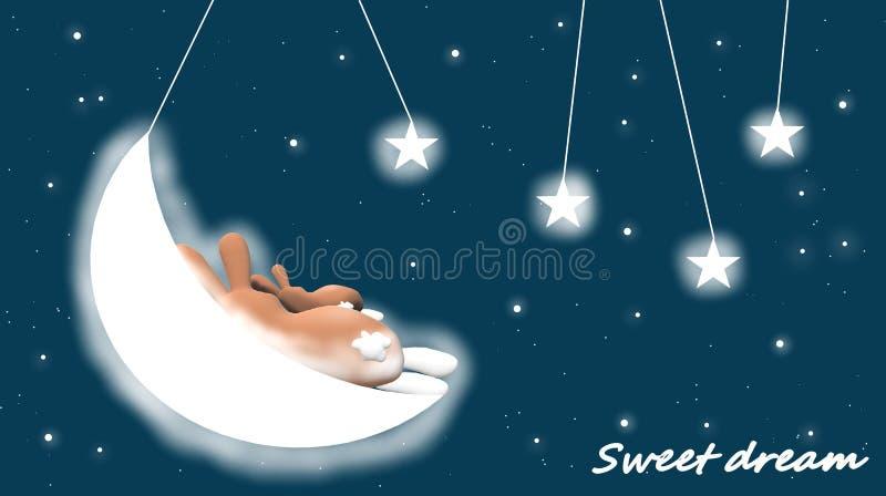 Lapins, lune, étoiles : égaliser le fond pour des enfants, berceuse illustration libre de droits