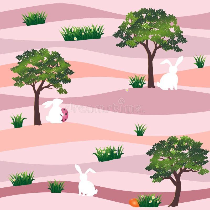 Lapins mignons avec des oeufs de pâques dans le modèle sans couture de jardin sur le fond en pastel, pour des vacances heureuses illustration libre de droits