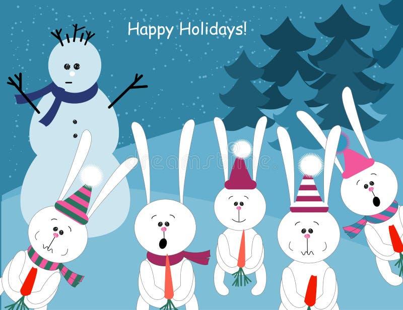 Lapins mignons et un bonhomme de neige illustration de vecteur