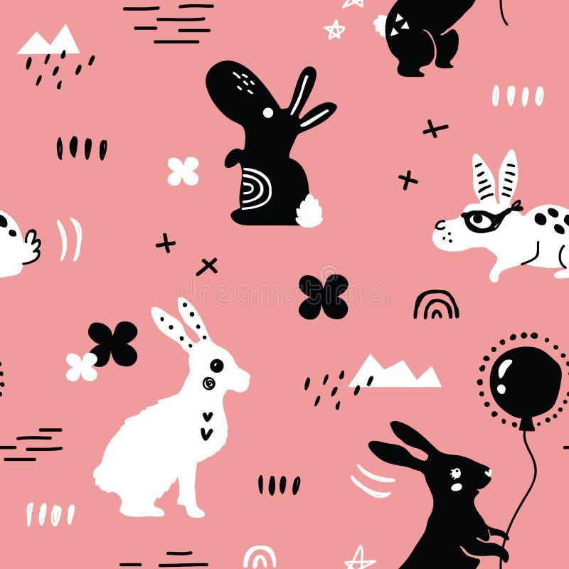 Lapins noirs et blancs amusants illustration libre de droits