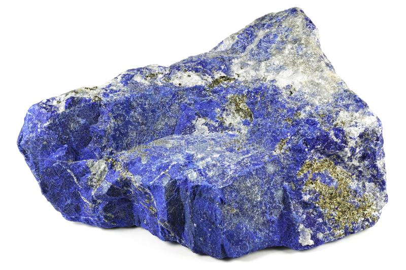 Lapis lazuli. From Afghanistan isolated on white background stock photos