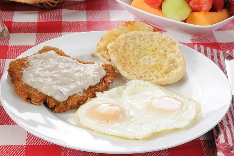 Lapje vlees en eieren royalty-vrije stock foto's