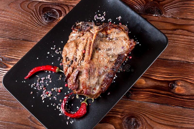 Lapje vlees geroosterd rundvlees stock foto's