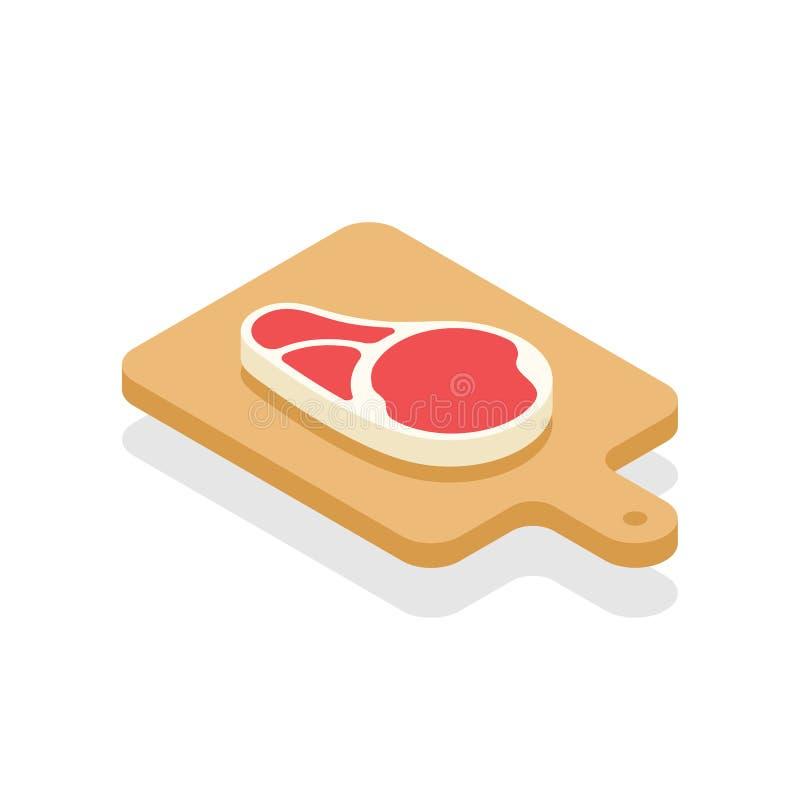 Lapje vlees isometrisch op het vlakke ontwerp van de houthakkenraad stock illustratie