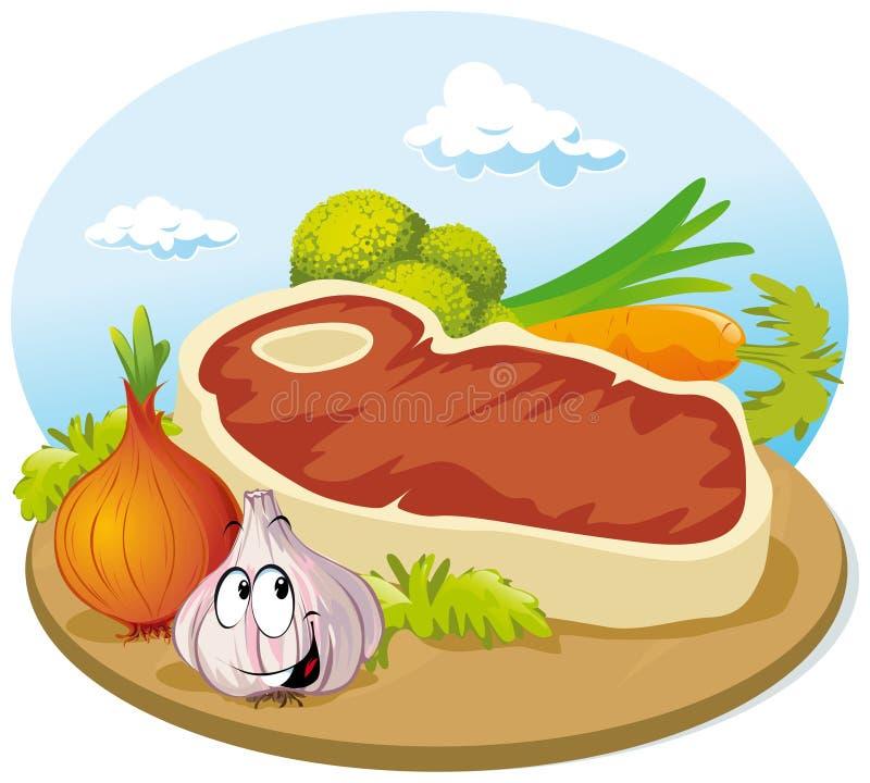 Lapje vlees met groente vector illustratie