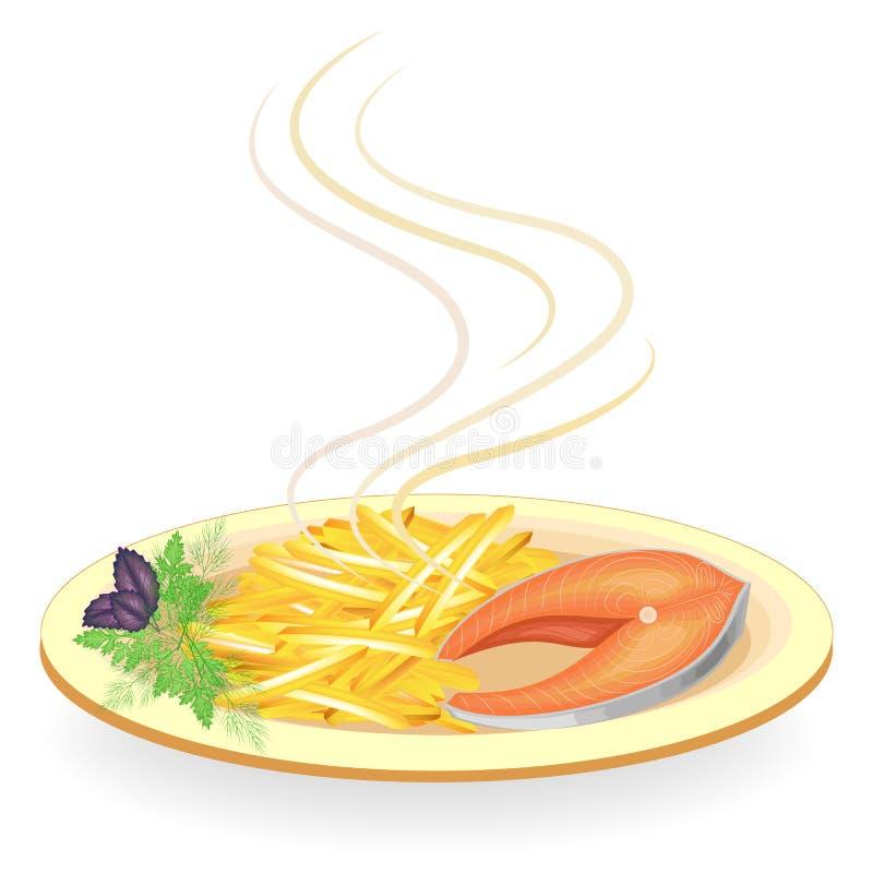 Lapje vlees van rode vissen op een plaat Versier gebraden aardappels, groene peterselie, dille en basilicum Heerlijk, geraffineer stock illustratie