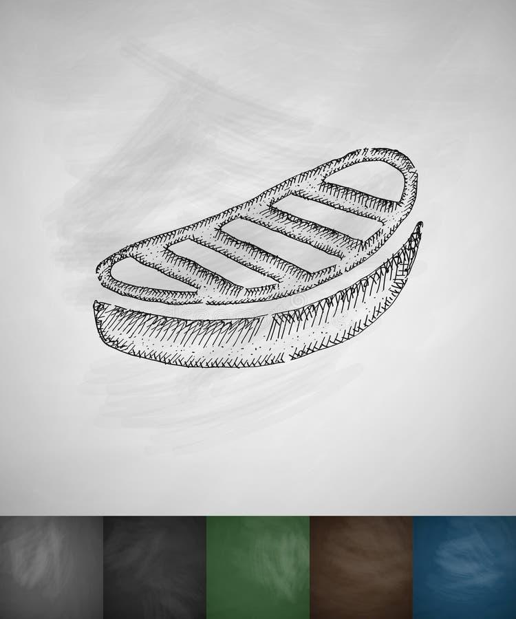 Lapje vleespictogram Hand getrokken vectorillustratie royalty-vrije illustratie