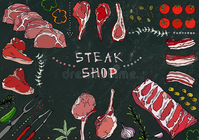 Lapje vleeswinkel Vleesbesnoeiingen - Rundvlees, Varkensvlees, Lam, Lapje vlees, Achterdeel Zonder botten, Ribbenbraadstuk, Lende stock illustratie