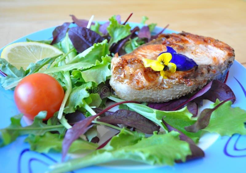 Lapjes vlees van rode vissen met citroen en saus stock foto