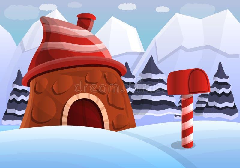 Lapland concept background, cartoon style vector illustration