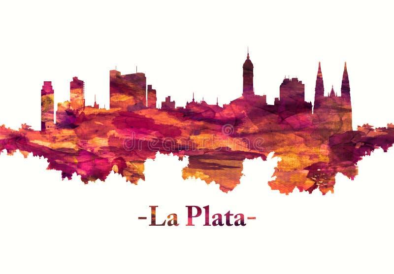 LaPlata Argentina horisont i rött vektor illustrationer