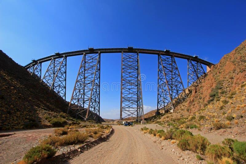LaPolvorilla viadukt, Tren en Las Nubes som är nordvästlig av Argentina arkivbild